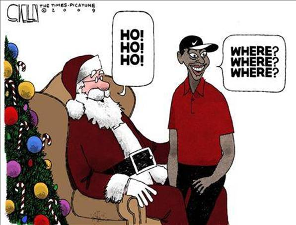 Tiger Woods with Santa Claus - Christmas Joke
